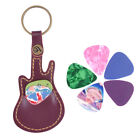 JI KF 5Pcs Ukulele Bass Guitar Picks Plectrum Sheet Faux Leather Case Cover