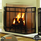 3 Panel Fireplace Screen Black Mission Style Hearth Cover Metal Steel Wenge Fire