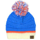 CC Football Basketball Team Colors Pom Winter Chunky Stretchy Knit Beanie Hat Bl