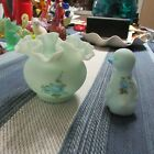 TWO BEAUTIFUL FENTON PIECES BLUE SATIN W FLOWERS HAND PAINTED  SIGNED