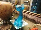 BEAUTIFUL FENTON BLUE SATIN HAPPY CAT