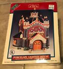 Lemax Caddington Christmas Village 1999 Porcelain Lighted Church in box Gray