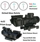 4X32 Prism Len Etched Glass Compact Scope Red Blue and Green Illuminated