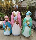 Lot of 3 Empire Nativity Blow Mold Life Size Wise Men Yard Christmas Free S