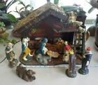 Antique Large 17 Italian NATIVITY CHRISTMAS SCENE w 16 Germany Figures MANGER