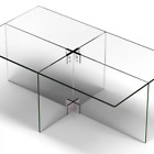 Walker Edison Rectangle 42 Coffee Table with Transparent Glass Frame