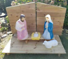 NATIVITY HOLY FAMILY BLOW MOLD SCENE Wood Stable Platform ALL WORK Local Pickup