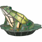 Quoizel Green Frog Tiffany Stained Glass Night Light Desk Table Lamp TFX837Y NEW