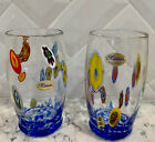 MURANO GLASS ART GLASSES TUMBLERS VENICE MURANO NEW SET Of TWO NWT