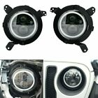 7 Inch LED Headlights 2Pcs w Halo Angle Eye DRL Hi Low Beam for Jeep Wrangler JL