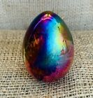 Vintage MSH Signed Egg Shaped Iridescent Swirl Glass Paperweight