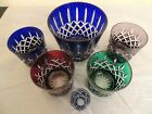 4 Colored Crystal Glasses Ice Bucket  Shot Glass Bohemian