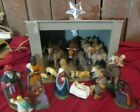 Vtg Nativity Set Figures animals Germany Mark Mache Plaster wood stable 24 pcs