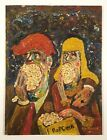 POPCORN EATERS 1960s OIL PAINTING GROTESQUE MOVIE THEATRE ART LEWD LOWBROW COMIX