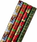 Hallmark Reversible Christmas Wrapping Paper Bundle Traditional Pack of 4