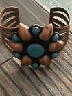 Solid Copper Turquoise Flower Bracelet Southwest Native American Cuff
