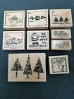 9 Rubber Stamps Wood Mounted Stampin Up Christmas Gift Tags Tree Angel 1998 2003