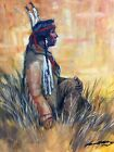 Original Oil Painting INDIAN Western art Southwest Native American in feathers