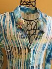CACHE Blue Green Yellow Splatter Button Down Top Blouse size M Bell Sleeves