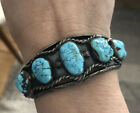 VERY OLD NATIVE AMERICAN SKY BLUE TURQUOISE NUGGET ROW STERLING BRACELET 40 G