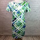 Vince Camuto Floral Abstract Sheath Dress Womens Size 8 P Blue Green Exposed Zip