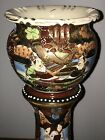 Vintage Satsuma Jardiniere Attached Pedestal w Stand Beautiful No Reserve