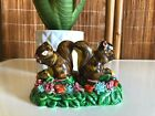 Vintage SQUIRRELS In MUSHROOM FOREST Salt  Pepper SHAKER SET Mid Century RETRO