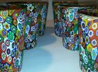 Lot of 6 Murano Glass Tumbler Drinking Multicolor Millefiori Hand Blown