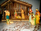 Vintage Nativity Set Stable  9 Paper Mache Figures Original Box