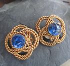 Vintage CHANEL Clip On Gold Tone Earrings Blue Glass Stones Rope Design