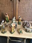 11 Piece Resin Nativity Figurine Set For Parts Replacements Manger Baby Jesus