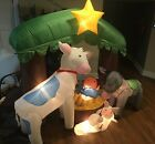Christmas Inflatable Nativity Scene Lighted Stakes Blower Holiday Outdoor Decor