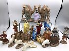 Vintage Atlantic Mold Nativity Ceramic 21 Pc Set Beautifully Hand Painted