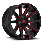 4 22x12 Fuel Gloss Black  Red Contra Wheel 6X135 6X1397 For Ford Toyota Jeep
