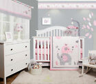 6 Piece Pink Grey Elephant Baby Girl Nursery Crib Bedding Sets By OptimaBaby