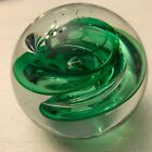 Adam Jablonski Signed Poland Lead Crystal Green Swirl Glass Paperweight Ball 3