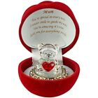 MUM Love Heart Teddy Bear Red Rose MotherDay Gift Boxed Glass Ornament