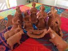 Handmade 12 Piece Red Brown Clay Pottery Christmas Nativity Figures Set Rustic