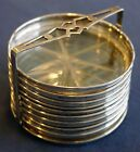 Sterling Silver  Art Deco Style Glass Coaster Set Free Shipping USA
