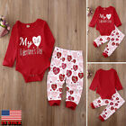 US Newborn Baby Boy Girl Valentines Day Top Romper+Pants Outfits Set Clothes