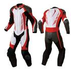 MOTORCYCLE LEATHER RACING SUIT RED AND WHITE