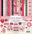 Echo Park LOVE STORY 12x12 Collection Kit Valentine Red Pink Heart scrapbook