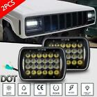 Pair DOT 5x7 7x6 LED Headlight Hi Lo Beam Halo DRL For Jeep Cherokee XJ YJ