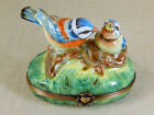 Limoges France Hinged Lid Trinket Box Mother Bird on log feeding her baby worms