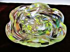 Murano Style Art Glass Bowl Multi Color On Clear Glass Hand Blown Collectible