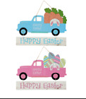 NEW HAPPY EASTER LITTLE RED TRUCK PINK OR BLUE YOU CHOOSE MDF HANGING