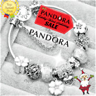 Authentic PANDORA CHARM Bracelet Silver White LOVE with European Charms New