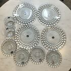 Vtg New Old Stock Fire King Sapphire Blue Bubble Glass Luncheon Set Plates Cups