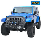 EAG Fit for 07 18 Jeep Wrangler JK Stubby Front Bumper with Fog Light Housing