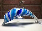 Art Glass Dolphin Blue White Swirl Encased in Clear 115 Long 675 High